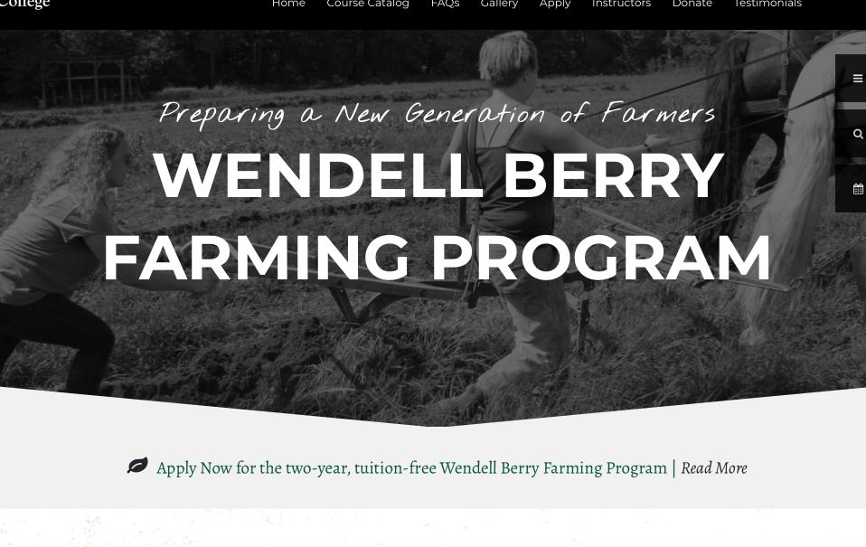 Une nouvelle génération d'agriculteurs aux USA – PROGRAMME D'AGRICULTURE TRADITIONNELLE DE WENDELL BERRY